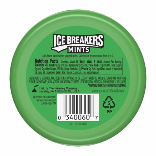 Ice Breakers Spearmint Sugar Free Mints Perspective: back