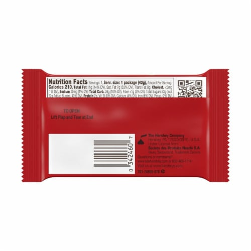 Kit Kat Gluten Free Milk Chocolate Crisp Wafer Candy Bar Perspective: back