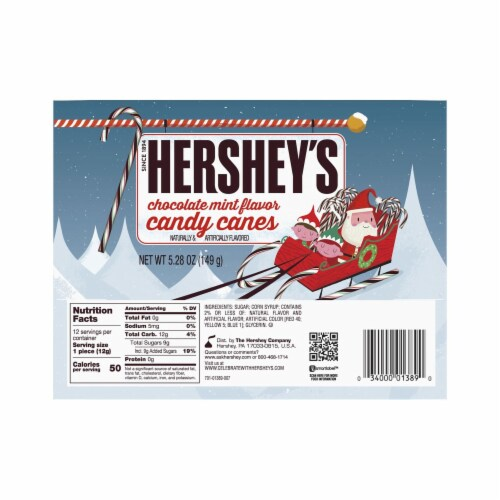 Hershey's Chocolate Mint Flavor Candy Canes Perspective: back