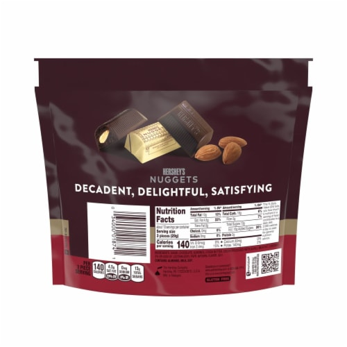 Hershey's Special Dark Mildly Sweet Chocolate Nuggets with Almonds Perspective: back