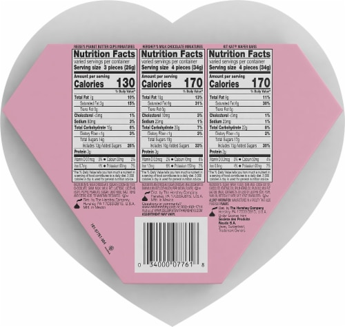 Hershey Valentine's Miniatures Candy Assortment Milk Chocolate Heart Box Perspective: back