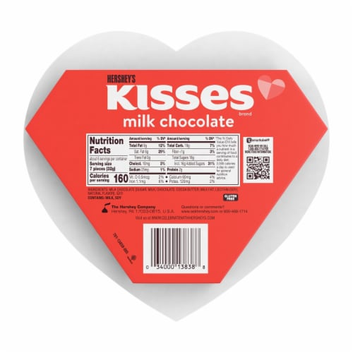 Hershey's Kisses Valentine's Milk Chocolate Candy Heart Box Perspective: back