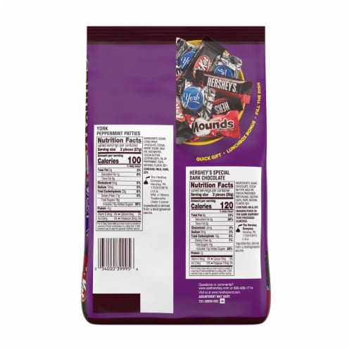 Hershey's Dark Chocolate Lovers Snack Size Candy Assortment Perspective: back