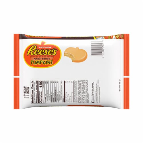 REESE'S Snack Size Orange-Colored Peanut Butter Pumpkins Halloween Candy Perspective: back