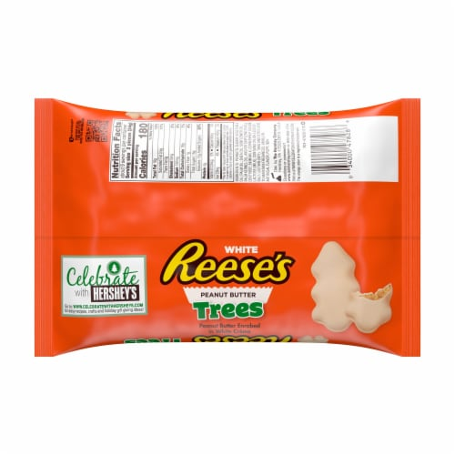 Reese's White Creme Peanut Butter Trees Holiday Candy Perspective: back
