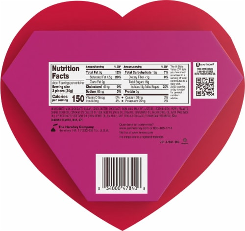 REESE'S Valentine's Milk Chocolate Peanut Butter Hearts Candy Heart Box Perspective: back