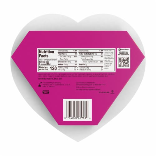 Reese's Miniatures Milk Chocolate Peanut Butter Cups Heart Box Perspective: back