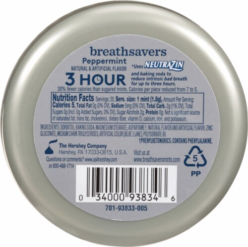 Breath Savers Sugar Free Peppermint Mints Perspective: back