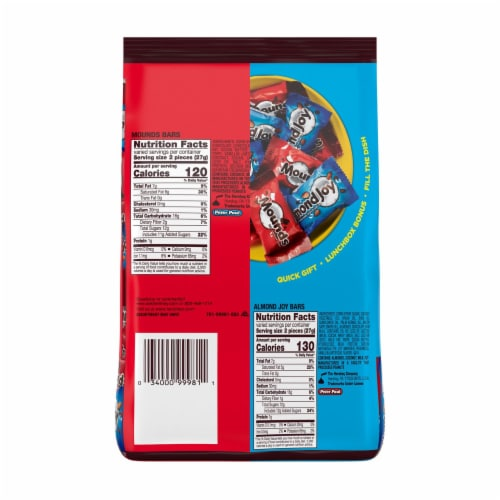 Almond Joy & Mounds Miniatures Candy Variety Bag Perspective: back