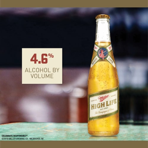 Miller High Life American Lager Beer Perspective: back