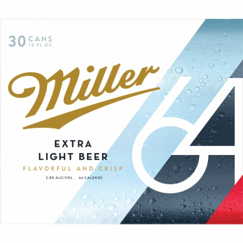 Miller64 Extra Light Lager Beer 30 Cans Perspective: back