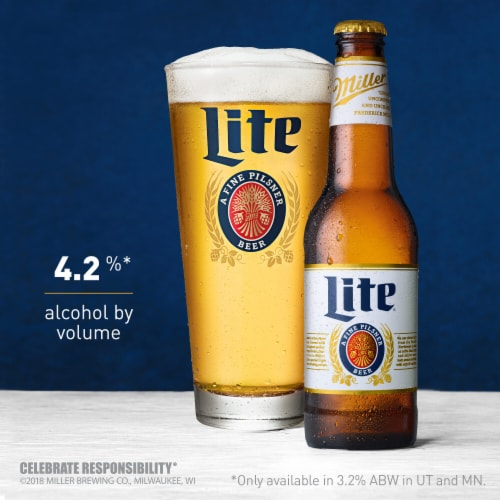 Miller Lite American Light Lager Beer Perspective: back