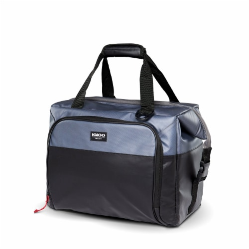 Igloo Durable & Adjustable Insulated Snapdown 36 Can Cooler Bag, Black and Gray Perspective: back