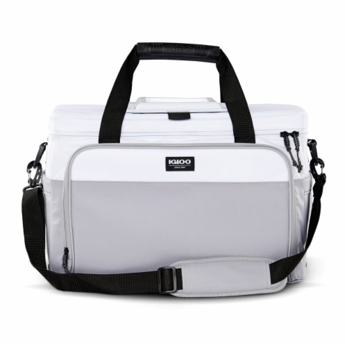 Igloo Coast Durable & Compact Insulated 36 Can Cooler Duffel Bag, White and Gray Perspective: back