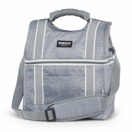 Igloo 22 Can Playmate Gripper Large Portable Lunchbox Soft Cooler Bag, Gray Perspective: back