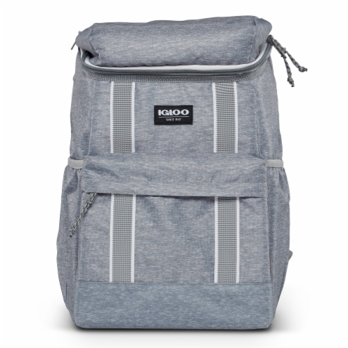 Igloo 30 Can Large Portable Insulated Soft Cooler Backpack Carry Bag, Light Gray Perspective: back