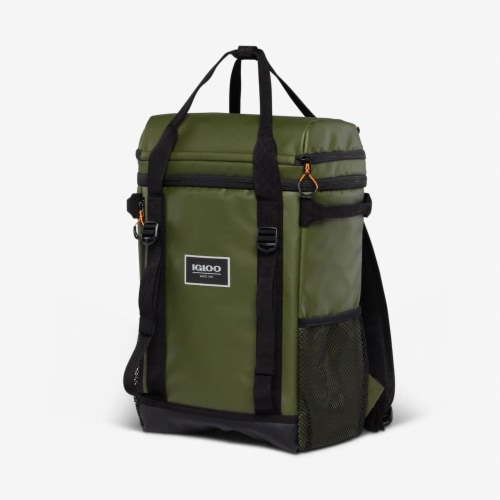 Igloo Pursuit 24 Can Portable Backpack Cooler w/ Adjustable Straps, Chive Green Perspective: back