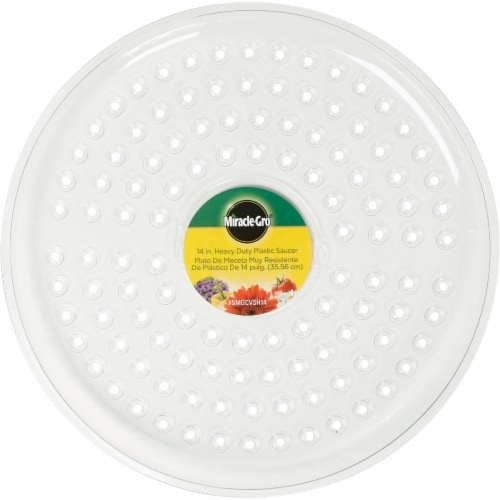 Miracle-Gro 14 In. Clear Plastic Flower Pot Saucer SMGCVSH14 Perspective: back