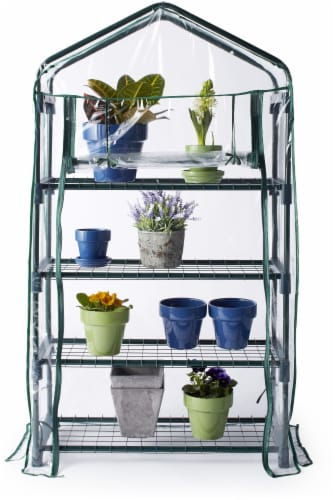 Bond 4-Tier Greenhouse - Green/Clear Perspective: back