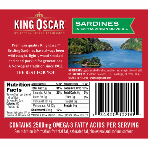 King Oscar Wild Caught Sardines in Extra Virgin Olive Oil Perspective: back