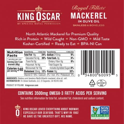 King Oscar Royal Fillet Mackerel in Olive Oil Perspective: back