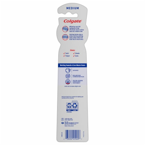 Colgate 360 Optic White Whitening Medium Toothbrush Perspective: back