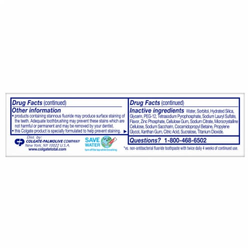Colgate Total SF Whole Mouth Health Clean Mint Toothpaste Perspective: back