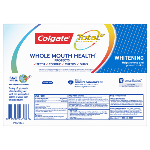 Colgate Total Whitening Toothpaste Perspective: back