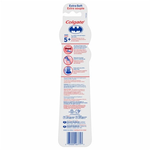 Colgate® Kids Batman Extra Soft Manual Toothbrushes Perspective: back