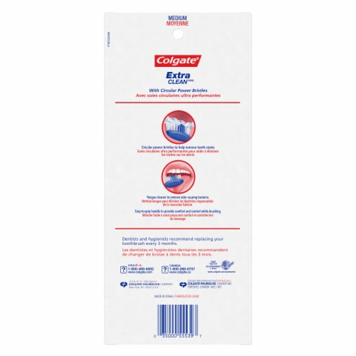 Colgate Extra Clean Medium Toothbrushes Perspective: back