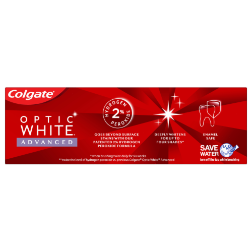 Colgate Optic White Advanced Icy Fresh Anticavity Fluoride Toothpaste Perspective: back