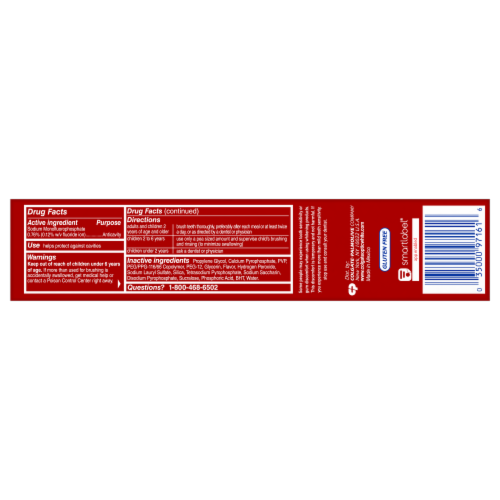 Colgate Optic White Advanced Sparkling White Toothpaste Perspective: back