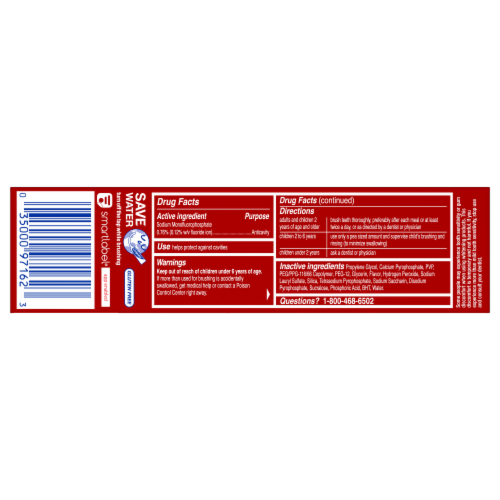 Colgate Optic White Advanced Sparkling White Anticavity Fluoride Toothpaste Perspective: back