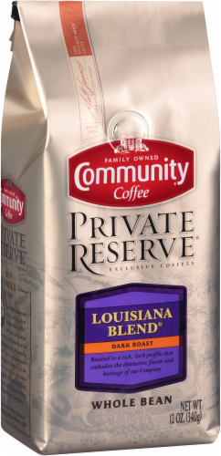 Community Coffee Private Reserve Louisiana Blend Dark Roast Whole Bean Coffee Perspective: back