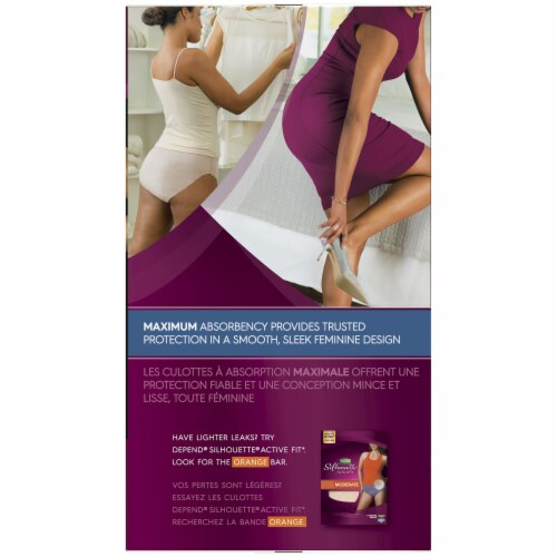 Depend Silhouette Max Absorbency L/XL Modern Rise Incontinence Briefs For Women Perspective: back