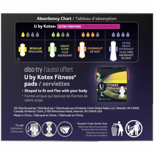 U by Kotex AllNighter Ultra Thin Overnight Pads with Wings Unscented Perspective: back