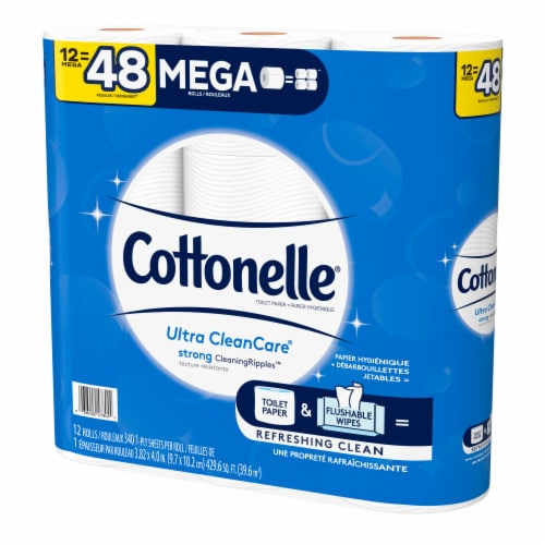 Cottonelle Ultra CleanCare Mega Roll Toilet Paper Perspective: back
