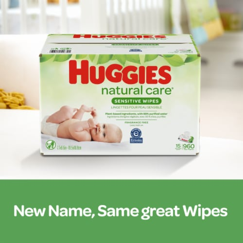 Huggies Natural Care Sensitive Baby Wipes Unscented Refill Packs Perspective: back