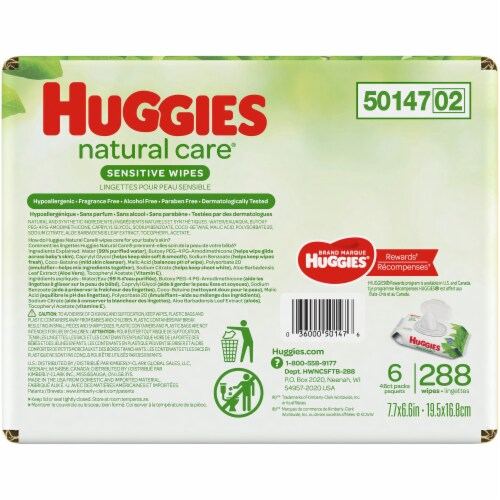Huggies Natural Care Fragrance Free Baby Wipes Perspective: back