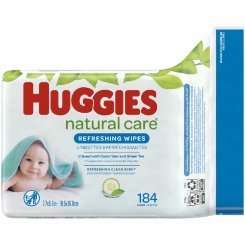 Huggies Natural Care Refreshing Cucumber & Green Tea Scent Baby Wipes Refill Pack Perspective: back