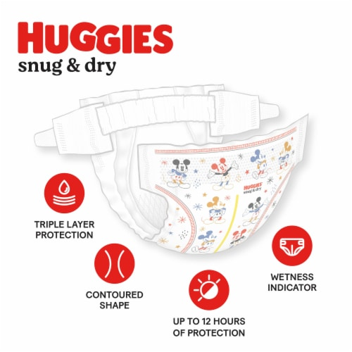 Huggies Snug and Dry Jumbo Pack Size 1 Baby Diapers Perspective: back