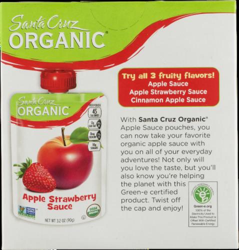 Santa Cruz Organic Strawberry Apple Sauce Pouches 4 Count Perspective: back