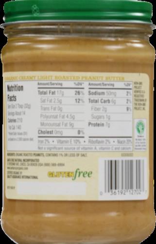 Santa Cruz Organic Light Roasted Creamy Peanut Butter Perspective: back