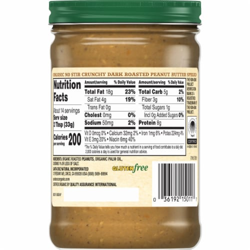 Santa Cruz Organic No Stir Crunchy Dark Roasted Peanut Butter Spread Perspective: back