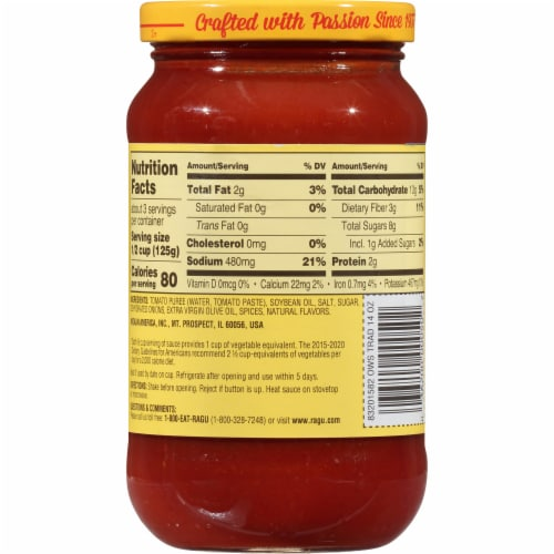 Ragu Old World Style Traditional Pasta Sauce Perspective: back