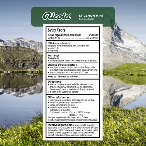 Ricola Sugar Free Lemon-Mint Herb Throat Drops Perspective: back