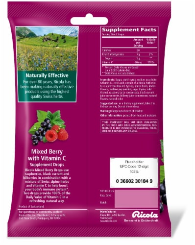 Ricola Mixed Berry Plus Vitamin C Throat Drops Perspective: back
