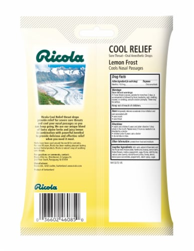 Ricola Cool Relief Lemon Frost Oral Anesthetic Drops Perspective: back