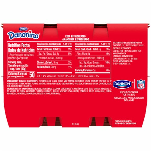 Dannon Danonino Strawberry Yogurt Perspective: back