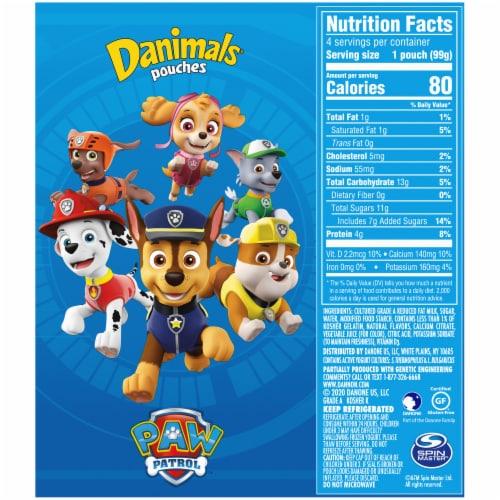 Danimals Squeezables Paw Patrol Cotton Candy Flavor Lowfat Yogurt Pouches Perspective: back